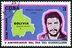 CUBA - 1972: mostra a comandante Ernesto Guevara de la Serna Che Guevara 1928-1967, mappa della Bolivia, Quebrada del Yuro Immagine Stock Libera da Diritti