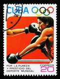 Cuba mostra o encaixotamento, 23th Jogos Olímpicos do verão, Los Anbgeles 1984, EUA, cerca de 1984 Fotos de Stock Royalty Free