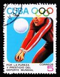 Cuba mostra o jogador de voleibol, 23th Jogos Olímpicos do verão, Los Anbgeles 1984, EUA, cerca de 1984 Fotografia de Stock