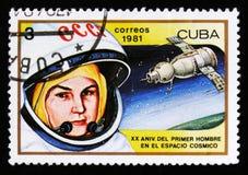 Cuba muestra V Tereshkova, 1ra mujer en el espacio, vigésimo aniversario del 1r hombre en espacio, circa 1981 Foto de archivo