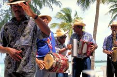 Musicians playing local songs for the holiday makers at Varadero Beach stock images