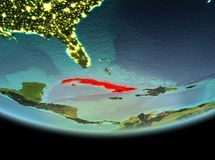 Cuba na noite na terra Imagens de Stock