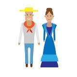 Cuba national dress. Illustration of national costume on white background Royalty Free Stock Images