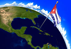 Cuba national flag marking the country location on world map. 3D rendering Royalty Free Stock Images