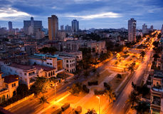 Cuba. Night Havana. The top view on avenue Presidents. Royalty Free Stock Photos