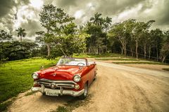 Cuba, Old Car, Forest, Red, Sepia Stock Photography