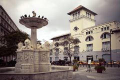 Cuba. Old Havana. Sierra Maestra Havana and fountain of lions on San Francisco Square Stock Images