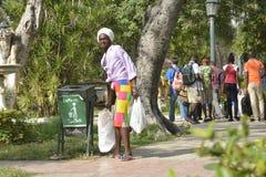 CUBA OLD HAVANA STREET SCENE BAG LADY royalty free stock photo