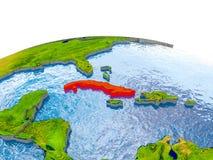Cuba op model van Aarde Royalty-vrije Stock Afbeelding