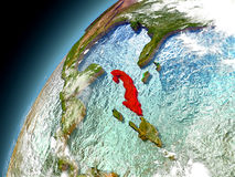 Cuba from orbit of model Earth Stock Image