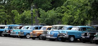 Cuba parking full of old, vintage cars stock images