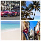 Cuba photo collage with beach and Havana Royalty Free Stock Photography