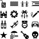 Cuba pictograms. Some pictograms representing Cuba and its traditions Royalty Free Stock Photo