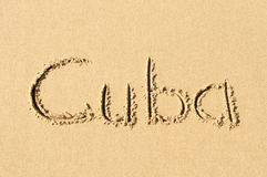 Cuba. A picture of the word Cuba  drawn in the sand Royalty Free Stock Image