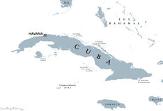 Cuba political map with capital Havana. Republic in the northern Caribbean with the neighbor countries Jamaica, Haiti, the Cayman Islands and The Bahamas Stock Images