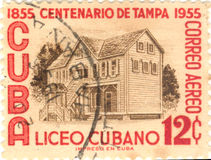 Cuba postage stamp. Cuban postage stamp 12 cent 1855 to 1955 Stock Images
