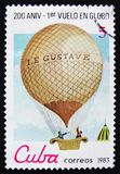 Cuba postage stamp shows Montgolfier balloon `Le Gustave`, series `Bicentenary of the 1st Manned Balloon Flight`, circa 1983 Stock Photos