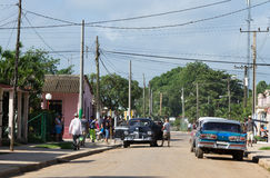 Cuba province american oldtimers drives on the road Stock Photos