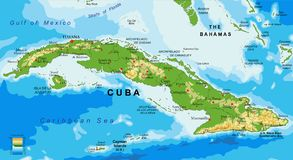 Cuba relief map. Highly detailed physical map of Cuba,in vector format,with all the relief forms,regions and big cities Stock Images