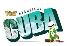 Cuba retro postcard typography Stock Photo