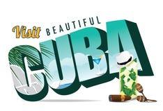 Cuba retro postcard typography Stock Photo