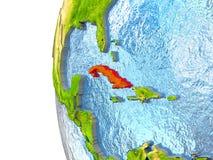 Cuba in rood royalty-vrije illustratie