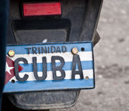 Cuban Classic Cars. A License Plate of a Motorbike from Trinidad Cuba. Shot taken Jan. 2014 Royalty Free Stock Photo