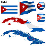 Cuba set. Detailed country shape with region borders, flags and icons isolated on white background Stock Photo