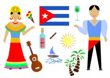 The cuba set. Set in the style of a flat design on the theme of cuba Stock Photos