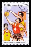Cuba shows Basketball players, series devoted to the 25th summer Olympic games in Barcelona 1992, circa 1990 Royalty Free Stock Image