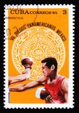 Cuba shows boxing, devoted to 7th american youth games in Mexico, circa 1975 Royalty Free Stock Photo