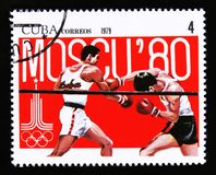 Cuba shows Boxing, Summer olympic games in Moscow 1980, circa 1979 Stock Photo