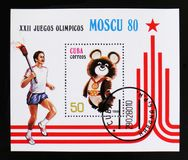 Cuba shows Emblem of Summer Olympic games in Moscow, circa 1980 Royalty Free Stock Photography
