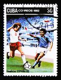 Cuba shows Football players, series devoted to the Football championship in Spain 1972, circa 1972 Stock Photo