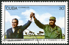 CUBA - 1974: shows Leonid Brezhnev and Fidel Castro Stock Images