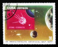 Cuba shows satellite in space, 20th years anniversary of space research, circa 1977 Stock Photo