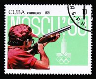 Cuba shows Shooting, Summer olympic games in Moscow 1980, circa 1979 Royalty Free Stock Photo