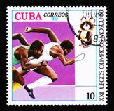 Cuba shows Sprint runners, Summer Olympic games in Moscow, circa 1980 Royalty Free Stock Images