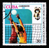 Cuba shows Volleyball players, Summer Olympic games in Moscow, circa 1980 Royalty Free Stock Image