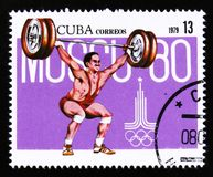 Cuba shows weight lifting, Summer olympic games in Moscow 1980, circa 1979 Royalty Free Stock Images