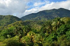 Cuba Sierra Maestra mountains landscape. Mountain range Sierra Maestra on Cuba. Channel of the periodic river royalty free stock image