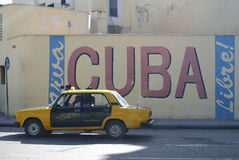 Cuba Sign. Cuba libre sign on wall with taxi, Havana, Cuba Royalty Free Stock Photos