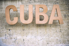 Cuba Sign Weathered Stone Background Royalty Free Stock Photos