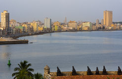 Cuba Skyline from Havana with of the Malecon.  Royalty Free Stock Images