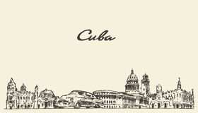Cuba skyline vector illustration hand drawn sketch. Cuba skyline vintage vector engraved illustration hand drawn sketch Stock Image