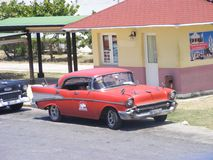 Vintage cars in Cuba in the Spring. Cuban Resort stock photos