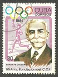 Pierre de Coubertin. Cuba - stamp 1984, Memorable multicolor issue of offset printing, Olympic Games, Sport, Series Summer Olympics Atlanta, 90th Anniversary of Royalty Free Stock Photography