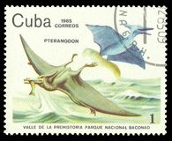 Pteranodon. Cuba - stamp 1985, Multicolor Edition Prehistoric animals, Fauna, Series Prehistoric Valley in Baconao national park, Pteranodon Royalty Free Stock Photography