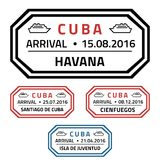 Cuba stamps. Cuba travel stamps - cruise ship destination badge Royalty Free Stock Photo