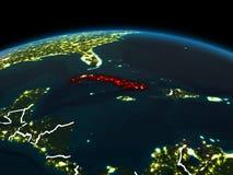 Cuba su terra alla notte illustrazione di stock